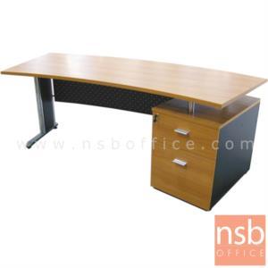 A13A009:โต๊ะผู้บริหารหน้าโค้ง 2 ลิ้นชัก  รุ่น ITK-PCS ขนาด 200W cm. ขาเหล็ก