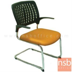 B04A099:เก้าอี้รับแขกขาตัวซีหลังเปลือกโพลี่ รุ่น PE-CL886C  ขาเหล็กชุบโครเมี่ยม