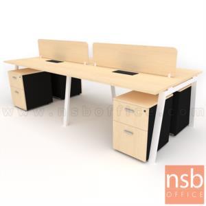 A27A048:ชุดโต๊ะทำงานกลุ่ม 4 ที่นั่ง รุ่น Slash-5 (สแลช-5)  พร้อมมินิสกรีนและลิ้นชักข้าง ขาเหล็ก