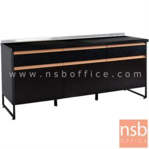 K06A005:ตู้ครัวหน้าเรียบ 3 บานเปิด 3 ลิ้นชัก 180W*60D*80H cm. โครงเหล็กพ่นดำ