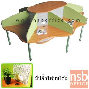 A04A014:ชุดโต๊ะทำงานกลุ่ม 8 ที่นั่ง   ขนาด 265W cm. ขาเหล็ก