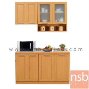 K03A022:ชุดตู้ครัวหน้าเรียบ 140W cm.  รุ่น STEP-003  พร้อมตู้แขวนลอย