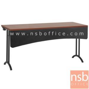 A18A075:โต๊ะประชุมพับเก็บได้ รุ่น FM-15 ขนาด 150W cm.  พร้อมบังโป๊ไม้โค้ง ขาเหล็กพ่นดำ