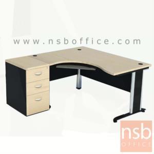 A16A079:โต๊ะผู้บริหารตัวแอลหน้าโค้งเว้า 3 ลิ้นชัก  ขนาด 180W1 ,120W2 cm. ขาเหล็ก
