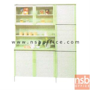 G07A098:ตู้ครัวสูงบานเกล็ด พร้อมตู้เก็บของบานเกล็ดทางด้านขาว  ขนาด 150W*54D*190H cm.