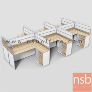 A04A185:ชุดโต๊ะทำงานกลุ่มตัวแอล 6 ที่นั่ง  รุ่น SR-L423 ขนาดรวม 458W1*242W2 cm. พร้อมตู้ข้างเอกสาร