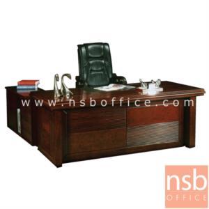 A06A019:โต๊ะผู้บริหารตัวแอล  รุ่น Regent  ขนาด 180W cm. พร้อมตู้ลิ้นชักและตู้ข้างโต๊ะ