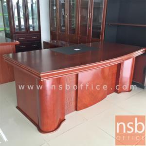 A06A047:โต๊ะผู้บริหารตัวแอลสีสัก รุ่น Sanfran  ขนาด 200W cm. พร้อมตู้ลิ้นชักและตู้ข้างโต๊ะ
