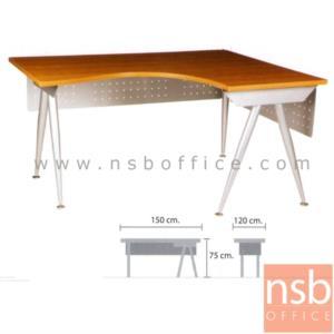 A18A026:โต๊ะผู้บริหารตัวแอลหน้าโค้งเว้า  รุ่น VCP-112 ขนาด 150W1*120W2 cm.  ขาเหล็กวีคว่ำ
