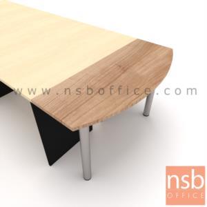A05A073:โต๊ะเข้ามุมหัวเหลี่ยมโค้ง  ขนาด 120W ,150W ,160W cm.  เมลามีน ขากลมโครเมี่ยม