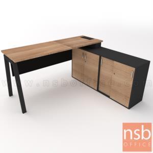 A30A034:โต๊ะผู้บริหารตัวแอล  รุ่น Slash-6 (สแลช-6) ขนาด 160W, 180W cm.  พร้อมตู้ข้าง ขาเหล็ก
