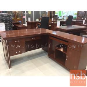 โต๊ะผู้บริหารตัวแอล 4 ลิ้นชัก  รุ่น Salma (ซัลมา) ขนาด 140W cm. พร้อมตู้ข้างและตู้ลิ้นชัก