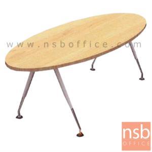A05A045:โต๊ะประชุมทรงวงรี  6 ,8 ที่นั่ง ขนาด 200W ,240W cm.  ขาตัววีคว่ำสีขาวปลายอลูมิเนียมเงา