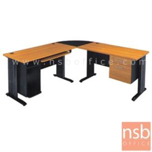 A10A004:โต๊ะผู้บริหารตัวแอลหัวโค้ง 2 ลิ้นชัก  รุ่น SR-1202 ขนาด 180W1*180W2 cm.  ขาเหล็ก สีเชอร์รี่-ดำ