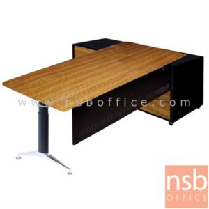 A30A014:โต๊ะผู้บริหารตัวแอล  รุ่น ZABRANO  ขนาด 200W1*160W2 cm. พร้อมตู้ข้าง ขาตัวไอ