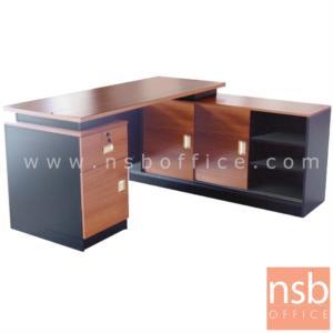 A16A071:โต๊ะผู้บริหารตัวแอล  รุ่น DS-S160 ขนาด 160W cm. เมลามีนล้วน