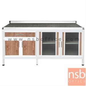 K08A014:ตู้ครัวตอนล่างอลูมิเนียมหน้าเรียบ  กว้าง 180 ซม