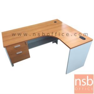 A13A052:โต๊ะผู้บริหารตัวแอลหน้าโค้งเว้า 2 ลิ้นชัก รุ่น Lovato (โลวาโต) ขนาด 150W1*120W2 cm.