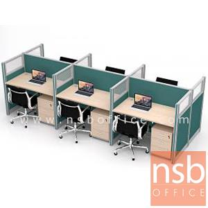 A27A045:โต๊ะทำงานกลุ่ม 6 ที่นั่ง รุ่น Levi (ลินน์)  พร้อมพาร์ทิชั่นกระจกขัดลาย และตู้ลิ้นชัก