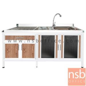 K08A015:ตู้ครัวตอนล่างอลูมิเนียมอ่างซิงค์ 1 หลุม มีที่พักจาน  กว้าง 180 ซม มีลิ้นชัก