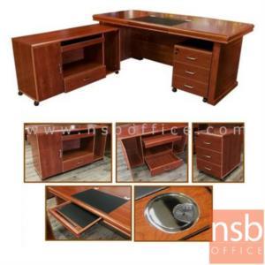 ชุดโต๊ะผู้บริหารตัวแอล รุ่น NANO (นาโน) ขนาด 180W , 200W cm.  พร้อมตู้ข้างและตู้ลิ้นชัก