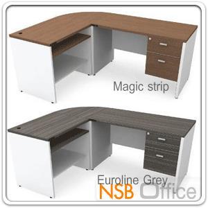 A13A037:โต๊ะทำงานตัวแอล 2 ลิ้นชัก รุ่น M-TY-KD21-1S  ขนาด 180W cm. เมลามีน