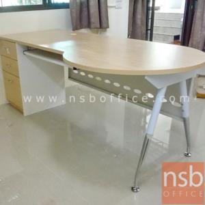 A13A059:โต๊ะผู้บริหารทรงหัวโค้ง   ขนาด 200W cm.  พร้อมตู้ลิ้นชักข้าง บังตาเหล็ก ขาเหล็กปลายเรียว