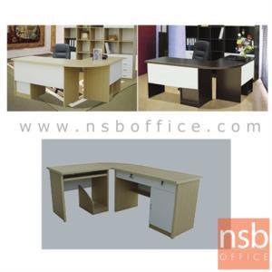 โต๊ะทำงานตัวแอลมุมโค้ง รุ่น Davies (เดวีส์) ขนาด 120W cm. พร้อมโต๊ะข้าง