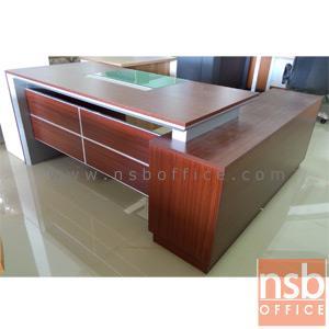 A13A040:โต๊ะทำงานตัวแอลสีสัก  รุ่น BC-OFT-06L  ขนาด 180W cm. พร้อมตู้ลิ้นชักล้อเลื่อน รางคีย์บอร์ด ที่วางซีพียู