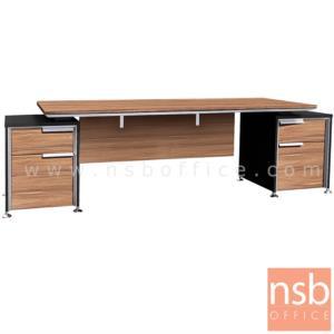 A33A021:โต๊ะผู้บริหารทรงสี่เหลี่ยม 4 ลิ้นชัก  รุ่น SR-2322 ขนาด 225W cm. ขาเหล็กอัลลอยชุบโครเมี่ยม สีวอลนัทตัดดำ