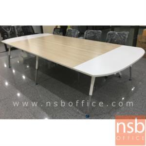 A05A119:โต๊ะประชุมหัวโค้ง  ขนาด 300W ,340W ,460W ,540W ,640W cm.  ระบบคานเหล็ก ขาสีบรอนซ์เงินปลายขาโครเมี่ยม