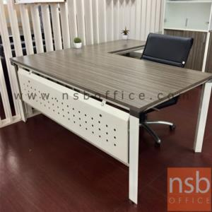 A28A002:โต๊ะทำงานตัวแอล  รุ่น HB-EX2DR1818 ขนาด 180W1*180W2 cm. พร้อมบังโป้เหล็กรู ขาเหล็ก