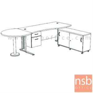 A13A031:โต๊ะผู้บริหารตัวแอล  รุ่น SR-SET4  ขนาด 300W cm. ขาเหล็กโครเมี่ยมดำ สีเชอร์รี่-ดำ *แอลตามภาพเท่านั้น*