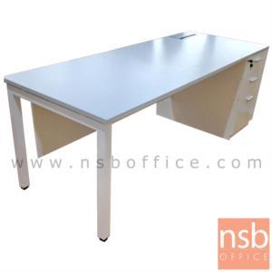 A13A160:โต๊ะผู้บริหารทรงสี่เหลี่ยม รุ่น Amos (เอมอส) ขนาด 180W ,200W cm.  พร้อมป๊อบอัพ ขาเหล็กเหลี่ยม