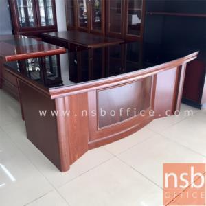 A06A084:โต๊ะบริหารตัวแอล กระจกหน้าโต๊ะ รุ่น FTS-FCF083 ขนาด 160W ,180W cm.  พร้อมตู้ข้างและตู้ลิ้นชัก