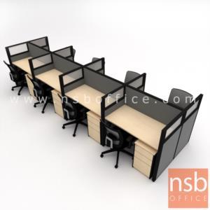 โต๊ะทำงานกลุ่ม 8 ที่นั่ง รุ่น Landon (แลนดอน) พร้อมพาร์ทิชั่นกระจกขัดลาย รางไฟด้านล่าง และตู้ลิ้นชัก