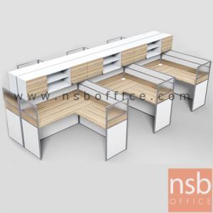 A04A184:ชุดโต๊ะทำงานกลุ่มตัวแอล 6 ที่นั่ง  รุ่น SR-L316  ขนาดรวม 458W1*306W2 cm. พร้อมตู้แขวนเก็บเอกสาร