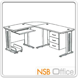 โต๊ะผู้บริหารตัวแอลหัวโค้ง  รุ่น SR-SET1  ขนาด 180W1*140W2 cm. ขาเหล็กโครเมี่ยมดำ สีเชอร์รี่ดำ