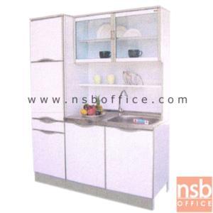 G07A107:ตู้ครัวสูงอลูมิเนียม พร้อมอ่างซิงค์ ตู้เก็บของด้านข้าง ลิ้นชักมีถาดใส่ช้อน