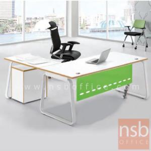 A16A076:โต๊ะทำงานตัวแอล รุ่น G511  ขนาด 180W1*180W2 cm. พร้อมบังตา ขาเหล็กทรงคางหมูพ่นสีขาว