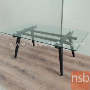 B13A224:โต๊ะกลางกระจก  รุ่น CORDIA-FIX ขนาด 110W cm. โครงเหล็กพ่นสี