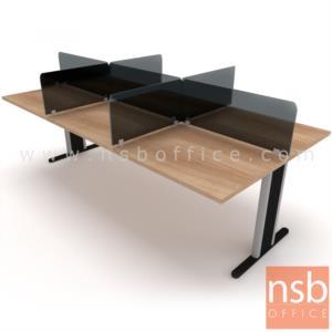 ชุดโต๊ะทำงานกลุ่ม Call Center 6 ที่นั่ง   ขนาด 80W cm. พร้อมแผ่นมินิสกรีนกระจก ขาตัวที