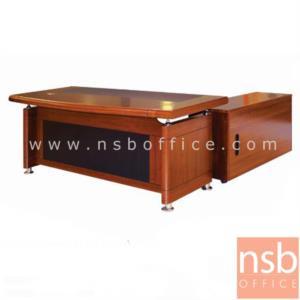 A06A060:โต๊ะผู้บริหารตัวแอล  รุ่น LUCKY  ขนาด 160W ,180W cm.  พร้อมโต๊ะลิ้นชักและตู้ข้าง