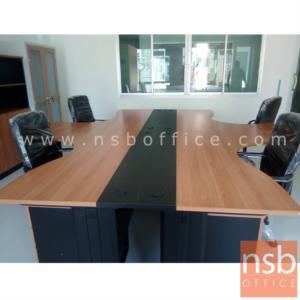 โต๊ะทำงานตัวแอลหน้าโค้งเว้า  รุ่น S-DK-84161  ขนาด 160W1*140W2 cm. ขาเหล็กดำ สีเชอร์รี่-ดำ