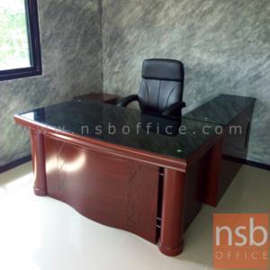 A06A110:โต๊ะผู้บริหารตัวแอลหน้ากระจก รุ่น SVL-D.O ขนาด 160W ,180W cm. พร้อมตู้ลิ้นชักและตู้ข้าง