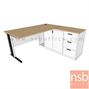 A30A022:โต๊ะผู้บริหารตัวแอล รุ่น NSB-NEW ขนาด 135W ,150W ,180W cm. พร้อมบังโป๊และตู้ข้าง ขาเหล็กตัวแอล