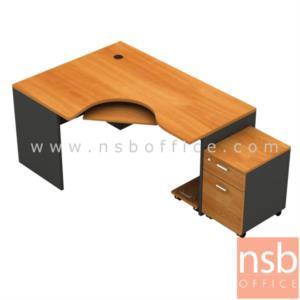 A13A003:โต๊ะผู้บริหารตัวแอลหน้าโค้งเว้า  รุ่น TY-2G ขนาด 165W1*120W2 cm. พร้อมคีย์บอร์ด ที่วางซีพียู ตู้ลิ้นชักล้อเลื่อน