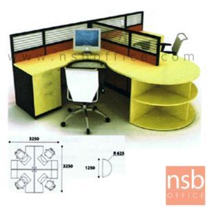 A04A024:ชุดโต๊ะทำงานกลุ่มตัวแอล 2 ที่นั่ง   ขนาดรวม 225W cm. พร้อมพาร์ทิชั่น Hybrid System