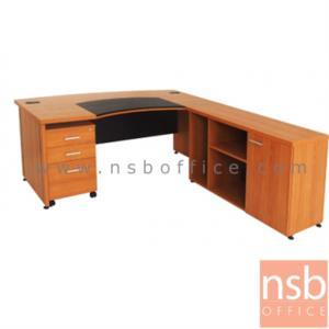 A16A059:โต๊ะผู้บริหารตัวแอล  รุ่น TIP  ขนาด 180W1*89W2 cm. พร้อมตู้ข้างและลิ้นชักล้อเลื่อน สีเชอร์รี่-ดำ