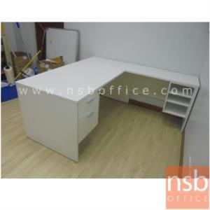 โต๊ะทำงานตัวแอล 2 ลิ้นชัก 3 ช่องโล่ง รุ่น Curran (เคอร์แรน) ขนาด 165W1*180W2 cm.  เมลามีน